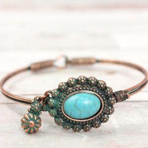 Turquoise Bead Wire boho Bangle Bracelet